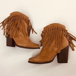 Very Volatile Brown Leather Fringe Booties